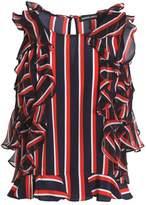 Markus Lupfer Ruffled Striped Silk Crepe De Chine Top