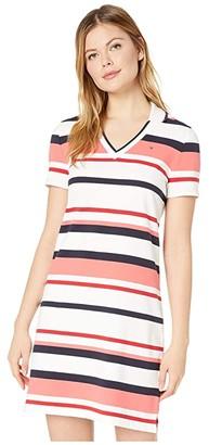 Tommy Hilfiger Adaptive Stripe Polo Dress (Bright White/Multi) Women's Clothing