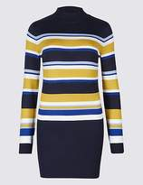 M&S Collection Striped Turtle Neck Longline Jumper