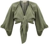 Adriana Degreas Tie-front Linen-blend Shirt - Womens - Green