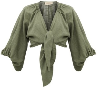 Adriana Degreas Tie-front Linen-blend Shirt - Green