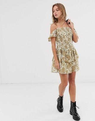Asos DESIGN cold shoulder shirred mini dress in paisley print