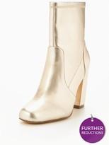 Very Rebel Block Heel Ankle Boot - Gold