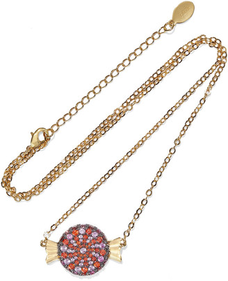 Noir Wrapped Candy 14-karat Gold-plated Crystal Necklace
