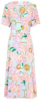 Hayley Menzies Luna Flora Blue Midi Dress