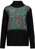 Marni Paneled Wool, Silk And Cashmere-Blend Turtleneck Sweater