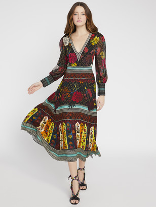 Alice + Olivia Janey V-Neck Flare Dress
