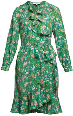 Abby Ruffled Silk Wrap Dress In Green Floral Print