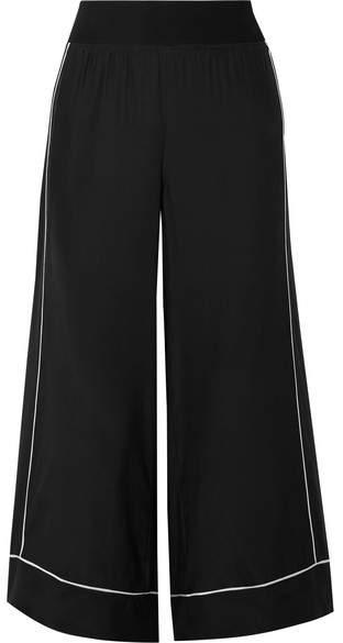 ATM Anthony Thomas Melillo Cropped Silk-charmeuse Wide-leg Pants - Black
