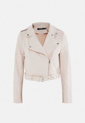 Missguided Cream Faux Suede Bonded Biker Jacket
