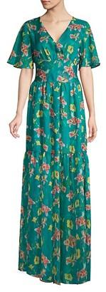Eywasouls Malibu Maria Floral Sheer-Hem Maxi Dress