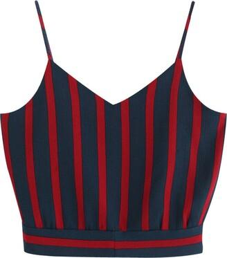 NEEDRA SALES Women Casual V Neck Stripe Seft Tie Back Crop Cami Tops Camisole Shirt Tank Top Vest Navy