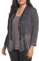 Nic+Zoe Plus Size Women's Cork Fringe Tweed Jacket