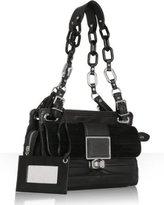 black tiered leather chainklink shoulder bag