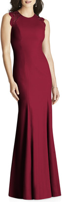 Dessy Collection Sleeveless Crepe Column Gown with Lace