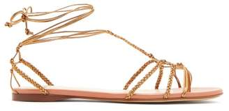 Francesco Russo Braided Ankle Strap Leather Flat Sandals - Womens - Bronze