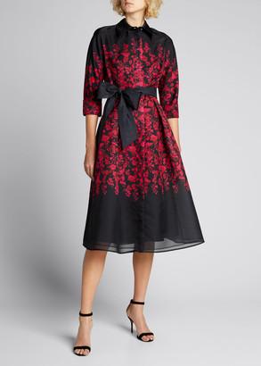Rickie Freeman For Teri Jon Border Pattern Floral Organza Shirtdress