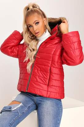 I SAW IT FIRST Red Fur Hood Padded Coat
