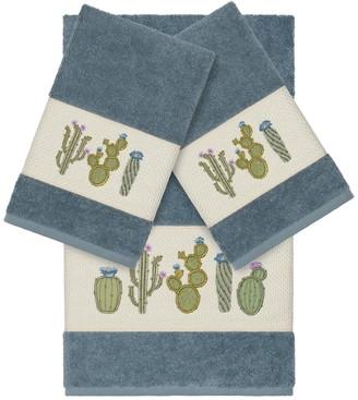 Linum Towels Teal Mila 3-Piece Embellished Towel Set