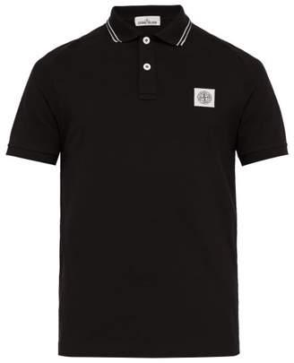 Stone Island Logo-patch Cotton-blend Pique Polo Shirt - Mens - Black