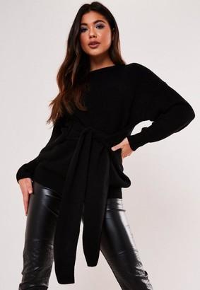 Missguided Petite Black Tie Waist Sweater Dress
