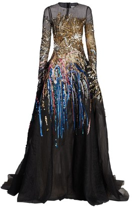 Oscar de la Renta Embroidered-Firework Mesh Gown