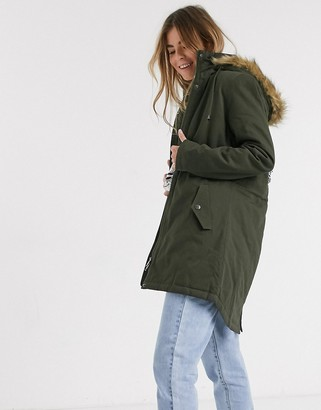 Brave Soul parka jacket with brown faux fur trim in khaki