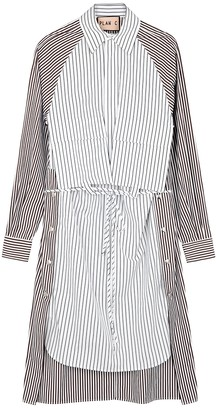 Plan C Striped Cotton Shirt Dress