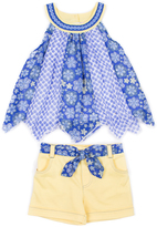Little Lass Blue Mixed Print Yoke Top & Yellow Shorts - Infant