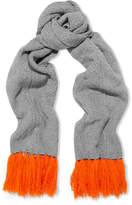 Chinti and Parker Aran Heart Fringed Cable-knit Merino Wool And Cashmere-blend Scarf - Gray
