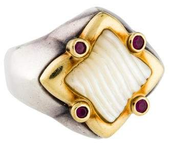 David Yurman Two-Tone Sculpted Mother of Pearl & Ruby Quatrefoil Ring