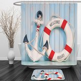 Vipsung Shower Curtain And Ground MatBuoy Decor Anchor And Striped Life Buoy Siding Vertical On Shabby Wall Boards Classic StyleShower Curtain Set with Bath Mats Rugs