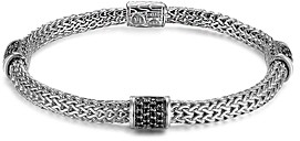 John Hardy Classic Chain Silver Lava Four Station Chain Bracelet with Black Sapphires