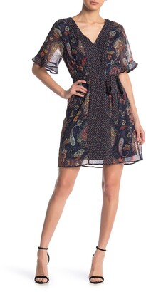 Dr2 By Daniel Rainn Floral Print Short Sleeve Dress
