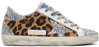 Golden Goose Silver Leopard Super-Star Sneakers