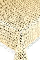 THE CARTERET TRADING COMPANY MACRAME STYLE SYNTHETIC HOME AND GARDEN TABLECLOTH WITH WHITE FRINGE- DIA.63IN (160cm) (CREAM)