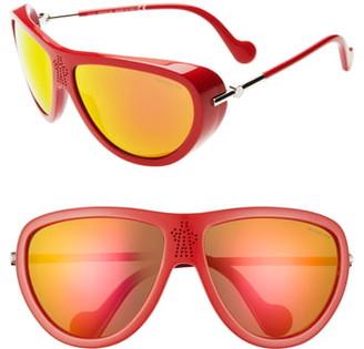 Moncler 66mm Mirrored Tinted Aviator Sunglasses