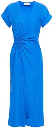 A.L.C. Wrap-effect Gathered Linen-blend Midi Dress