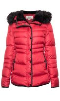 Quiz Red and Black Padded Faux Fur Collar Jacket