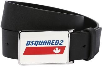 DSQUARED2 Leather Belt W/ Logo Buckle