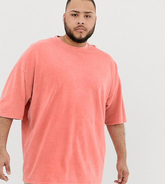 ASOS DESIGN Plus oversized t-shirt with half sleeve in washed pique in orange