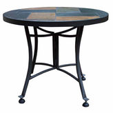 OUTDOOR INTERIORS Outdoor Interiors 24 in. Slate Mosaic End Table with Metal Base