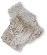 Adrienne Landau Knit Fingerless Rabbit Fur Glove