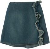 Moschino Pre Owned ruffled denim skirt