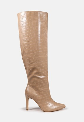 Missguided Sand Croc Over The Knee Mid Heel Boots