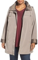 Gallery Plus Size Women's Two Tone Silk Look Raincoat With Removable Hood