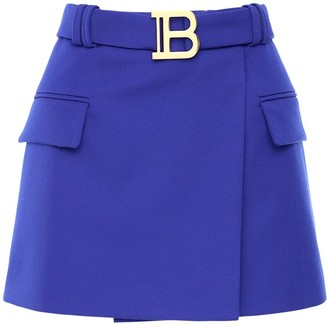 Balmain Low Rise Wool Mini Skirt