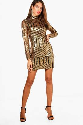 boohoo Tall Ava High Neck All Over Patterned Sequin Dress