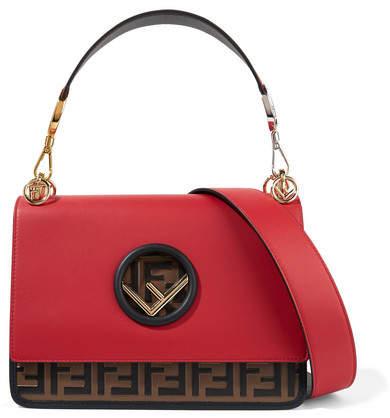 Fendi Kan I Embossed Leather Shoulder Bag - Red