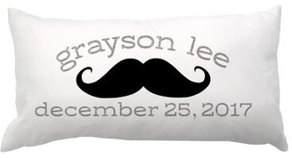 4 Wooden Shoes Mustache with Name and Date Lumbar Pillow 4 Wooden Shoes Customize: Yes